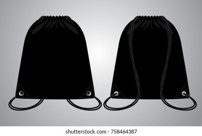 Blank Black Drawstring Bag Vector For Template.Front and Back Views.
