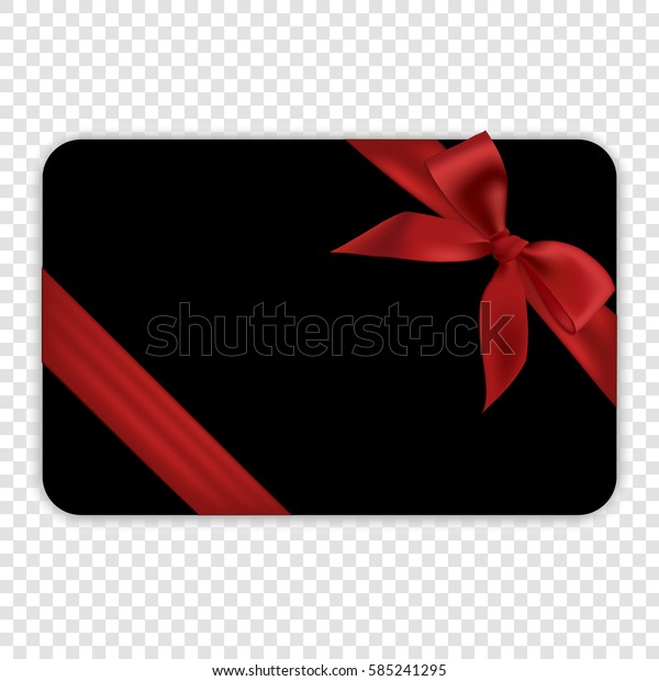 Blank black gift card template with red ribbon and a bow, vector illustration.