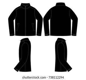 Blank Black Jacket Vector For Template.Front, Back And Side Views.