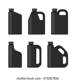 Blank Black Plastic Canisters Icons Set for Motor Machine Oil. Vector