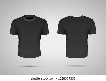 Blank black realistic sport t-shirt with shadow on gray