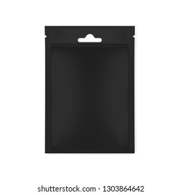 Blank black sachet packet with euro slot and tear notches isolated on white background, realistic vector mockup.