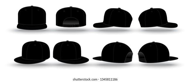 Blank black snapback cap