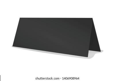 Blank black table name card. vector illustration