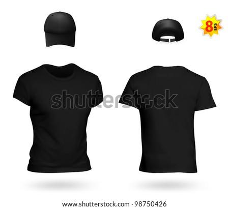 Blank Black Uniform Template Set T Shirt And Baseball Cap