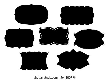 blank black vector frames or text boxes in old Victorian style with fancy ornate curves and scalloped edges or border designs