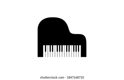 Blank black vector of a grand piano with cut out keys isolated against a white background. Graphic has blank empty copy space with room for text or images. Great for musical branding, symbols, icons.