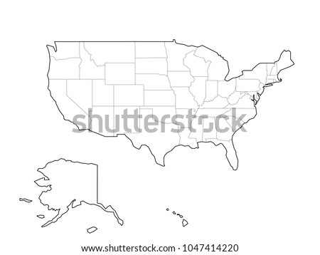Blank Black Vector Outline Map USA Stock Vector (Royalty Free ...