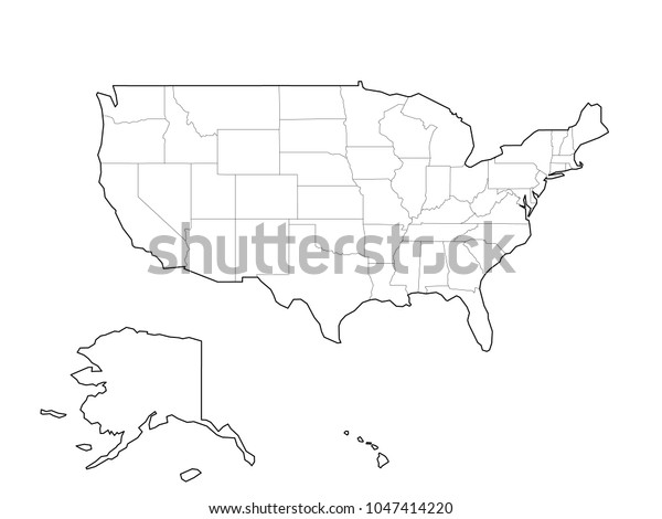 Blank Black Vector Outline Map Usa Stock Vector (Royalty ...