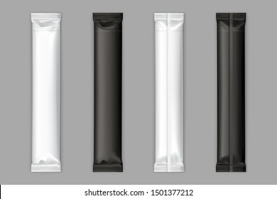 Blank black and white plastic, foil or polyethylene sachets sticks with torn line for sugar, instant coffee or chocolate bar packaging back, front view isolated, 3d realistic vector illustrations set