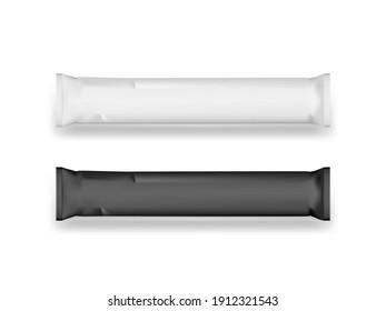 Blank Black And White Sugar Paper Sachet Bag Template. EPS10 Vector