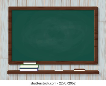 Blank blackboard with chalks and eraser on wood background
