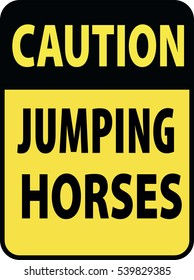Blank black-yellow caution jumping horses label sign on white