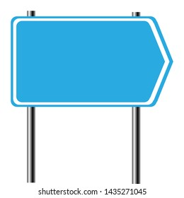 Blank blue road sign isolated on white background