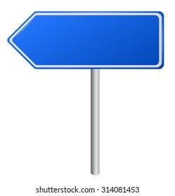 Blank Blue  Road Signs, illustration. vector