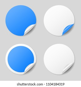 Blank blue round stickers with curled corners, realistic mockup