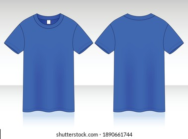 Blank Blue Short Sleeve T-Shirt Vector For Template.Front And Back View.