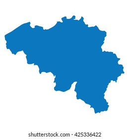 Blank Blue similar Belgium map isolated on white background. European country. Vector template for website, design, cover, infographics. Graph illustration.