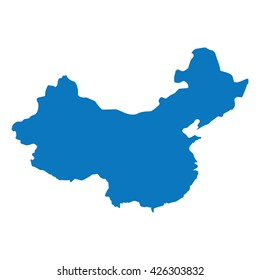 Blank Blue similar China map isolated on white background. Asian country. Vector template for website, design, cover, infographics. Graph illustration.