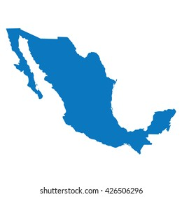 Blank Blue similar Mexico map isolated on white background. American country. Vector template for website, design, cover, infographics. Graph illustration.