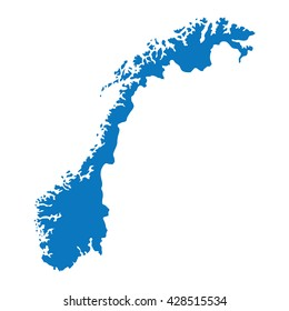Blank Blue similar Norway map isolated on white background. European country. Vector template for website, design, cover, infographics. Graph illustration.