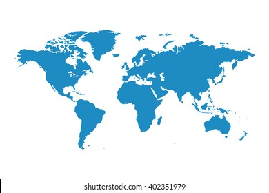 Blank blue similar world map isolated on white background. Best popular worldmap vector template for website, design, cover, annual reports, infographics. Flat earth graph world map illustration.