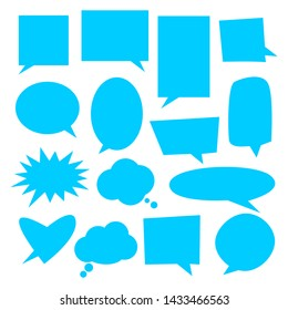 blank blue speech bubbles set with various shape isolated on white background. vector illustration