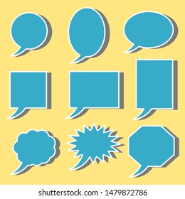 blank blue speech bubbles set with different shape for add words, talking, comic speaking or speech isolated on yellow background. vector illustration