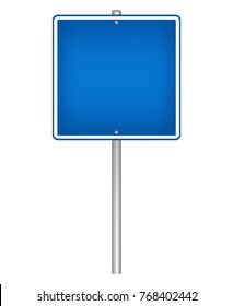 Blank blue square sign on a pole, vector