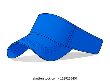 Blank Blue Sun Visor Cap Vector for Template : Perspective View