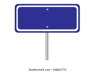 Blank Blue Traffic Road Sign on White. Vector