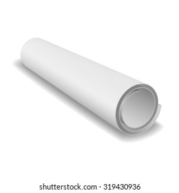 Blank blueprint roll of paper on a white background