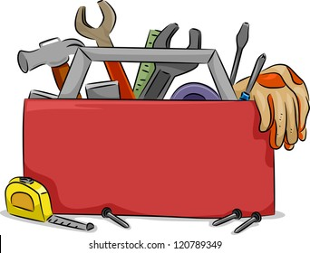 Blank Board Illustration of Red Tool Box with Carpentry Tools