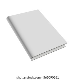 Blank book cover isolated on white background. Vector mock up illustration