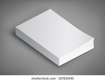Blank book cover on grey background. Template for your design.