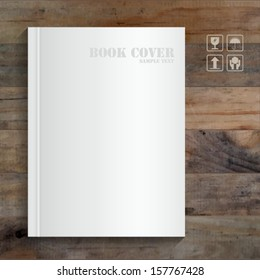 Blank book cover on grunge wooden background - Vector illustration