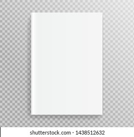 Blank book cover, placed on bookshelf for design. isolate on transparent background.