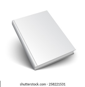 Blank book mockup with shadow isolated on white. 3d vector illustration.