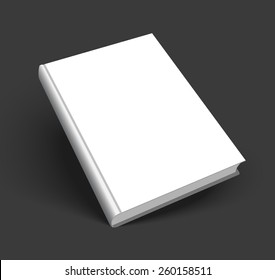 Blank book mockup with shadow isolated on dark black background. 3d EPS10 vector illustration. Empty white cover for your design.