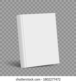 Blank book with white cover template. Mockup isolated on transparent background. Vector illustration.