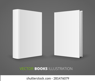Blank books covers from front and back. Vector illustration.