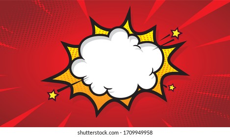 Blank boom speech bubble comic book, pop art with halftone Premium Vector