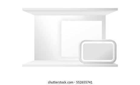 Blank Booth Display Counter Vector