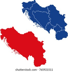 Blank and border separated map of Yugoslavia