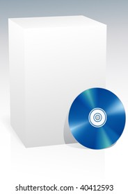 blank box and blue cd vector