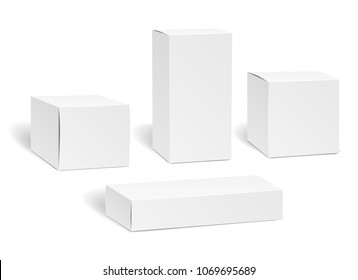 Blank box set. Packaging mockup isolated on white background, rectangle carton empty package boxes vector illustration