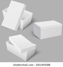 Blank of boxes for shoes on grey background. Vector.