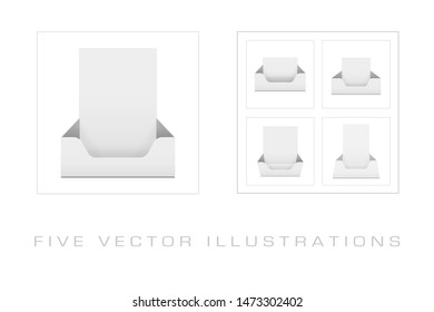 Blank brochure holder template for designers. 3d Illustration isolated on white background. Graphic concept for your design