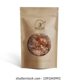 Blank Brown Paper Bag With Coffee Beans In Transparent Window. EPS10 Vector