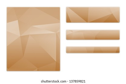 Blank brown template and buttons with subtle polygon pattern / blank polygon pattern template